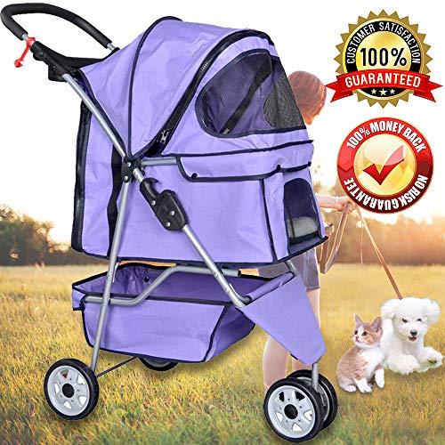 Pet Stroller Jogger Cat Dog Cage 3 Wheels Stroller Travel Fo