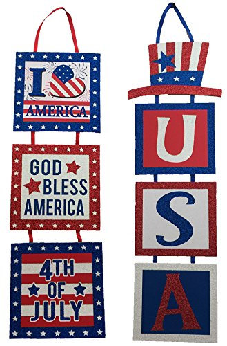 Mixed Patriotic 4th Of July Glitter Decoration Hanging Sign for Indoor / Outdoor - Set of 2, Red, White, Blue, 20x5.5]()
