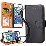 OKILA Apple iPhone SE Case, Apple iPhone 5S Case Leather Flip Wallet Card Holder Case Cover for Apple iPhone SE / 5S / 5 (Black)