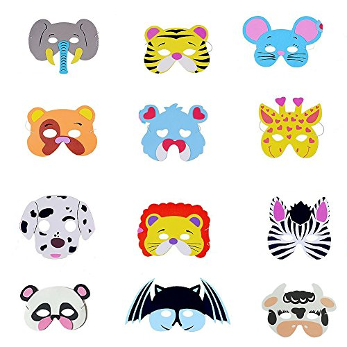 12 Assorted Foam Animal Masks for Birthday Party Favors Dress-Up Costume (Panda Themed Party)
