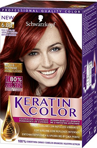 Schwarzkopf KERATIN COLOR Professional Quality Permanent Color Hair Dye No. 6.88 Intense Red