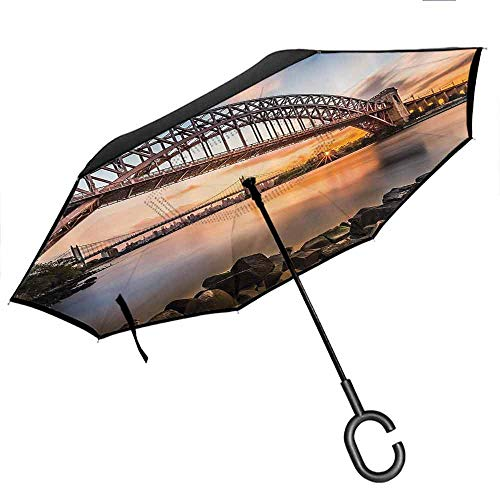 Inverted Umbrella, with C-Shaped Handle, Double Layer Canopy Apartment Decor Sunset Evening View Picture Of Hell Gate And Triboro Bridge Astoria Queens New York Brown Blue (Table Ohio Sunset)