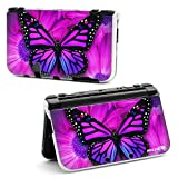 Richen Plastic Hard Shell Case for Nintendo New 3DS XL LL - Purple Butterfly
