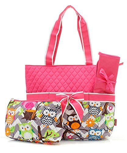 owl print quilted diaper bag