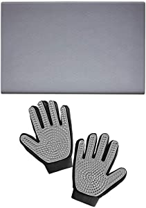 Gorilla Grip Pet Feeding Placemat and Pet Grooming Gloves, Both in Gray Color, Feeding Mat is Size 18.5x11.5, Great for Messes from Pets, Gloves Remove Shedding Fur, 2 Item Bundle