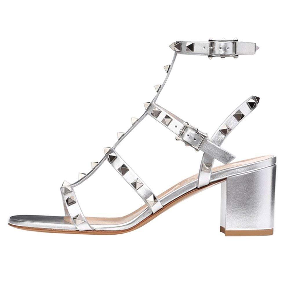 Chris-T Chunky Heels for Womens Studded Slipper Low Block Heel Sandals Open Toe Slide Studs Dress Pumps Sandals 5-14 US B07FFTCHBX 7.5 B(M) US|Silver/5cm/Slingback
