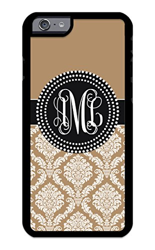Custom Phone Case iPhone 7 Case iZERCASE Monogram Personalized Damask Colorful Multi-Colored Pattern for Apple iPhone 7 (ICE Coffee)