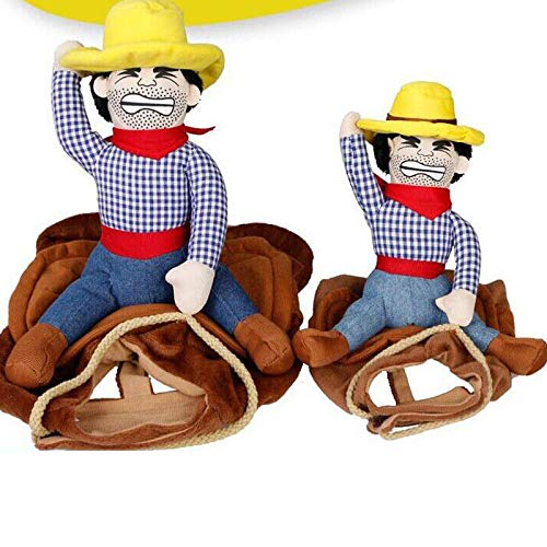 FidgetKute Funny Pet Dog Riding Horse Rodeo Cowboy Costume Halloween Party Clothing Clothes L ()