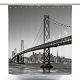 What Are the Measurements of a California King Bed vanfan-Durable Shower Curtains San Francisco Skyline And Bay Bridge At Sunset, California Usa_ Polyester Bathroom Shower Curtain Set With Hooks(70 x 92 inches)