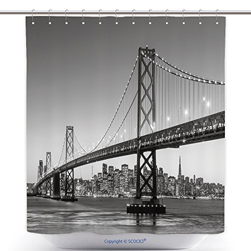vanfan-Durable Shower Curtains San Francisco Skyline And Bay Bridge At Sunset, California Usa_ Polyester Bathroom Shower Curtain Set With Hooks(70 x 92 - Outlets Near Francisco San