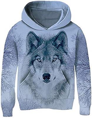 Teen Boys Girls 3D Print Casual Pullover Hoodies Hooded Sweatshirts Tops with Kangaroo Pockets 4T-13T