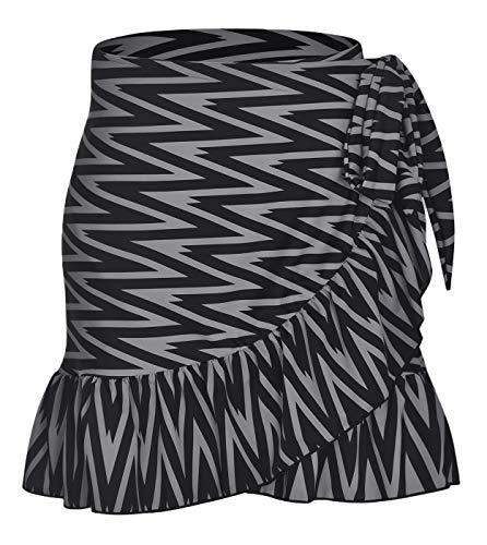 ChinFun Women's Ruffle Sarongs Beach Wrap Swimwear Bikini Tankini Cover Up Swim Skirts Swimdress Black Grey Diamond L-2XL