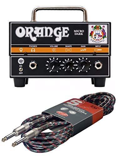 Orange Micro Dark Mini Valve Hybrid 20 Watt Guitar Amplifier Head #MD20 w/Free Cable
