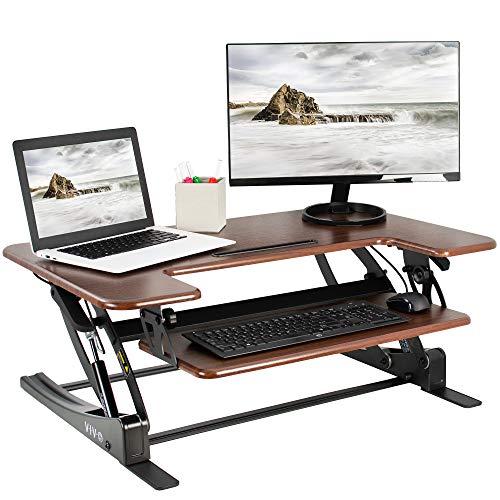 VIVO Dark Wood 36 Stand Up Desk Converter Workstation | Quick Sit to Stand Tabletop Monitor Riser (DESK-V000VD)