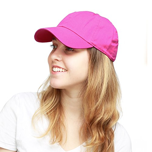 The Hat Depot 300N Washed Cotton Low Profile Baseball Cap (Fuchsia)