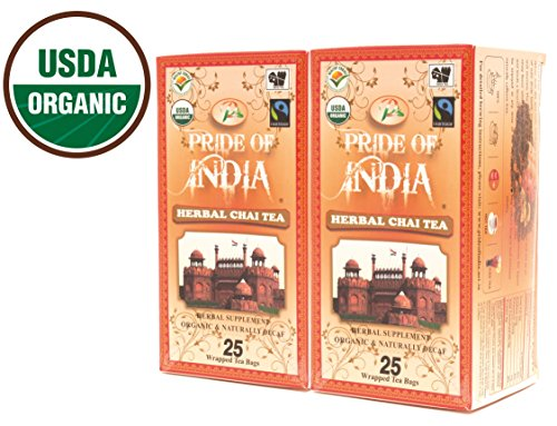 Pride Of India - Organic Herbal Chai Tea, 25 Count