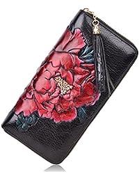 Leather Wallets For Women Floral Wristlet Wallet Card Holder Purse