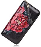 PIJUSHI Leather Wallets For Women Floral Wristlet Wallet Card Holder Purse (85006 Black/Red Peony)