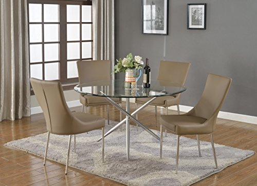 Milan PATIENCE-5 PC Patience Round Glass 5 Piece Dining Set with Brown Side Chairs -