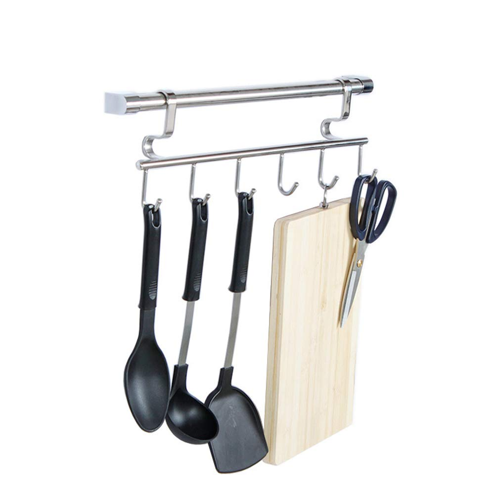 Kitchen Shelf Wall Mount Sticky Board Kitchen Knife Scissors Storage Multifunction Stainless Steel, 6 Hooks 410mm