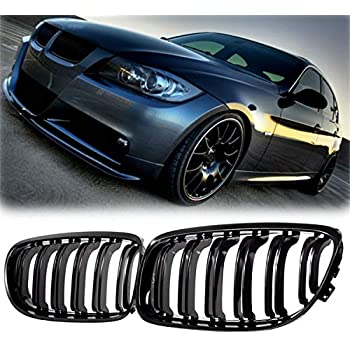runmade M-Color Car Front Grille Sport Strips buckle Cover M Performance Sticker For 2009 2010 2011 2012 BMW 3 Series E90 E91 320i 323i 325i 328i 335i LCI