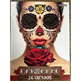 Floral Day of the Dead Sugar Skull Temporary Face Tattoo Kit - Pack of 2 Kits by Savvi