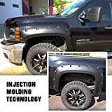 Magnus Smooth Finish Pocket Rivet Style Heavy Duty ABS Blister Plastic Fender Flares Compatible with 2007-2014 Chevrolet Silverado 1500 2500HD 3500HD (Standard Bed 6.5ft & Long Bed 8ft)