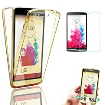 Bonice Full Body LG G4 Stylus Case Cover 360 Degree Front and Back 2pcs Protective Case TPU Gel Transparent Clear [Drop Protection] Cover for LG G4 Stylus / LG G Stylo / LG LS770 - Gold