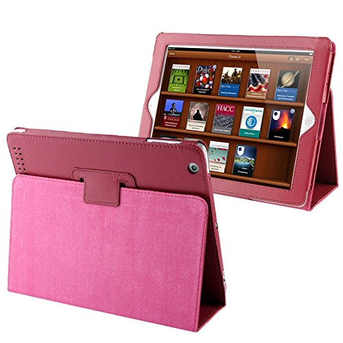 Tablets Cases/Covers Litchi Texture Folding Leather with Sleep/Wake-up &Holder Function for iPad 2 / iPad 3 / iPad 4 (Color : Magenta)