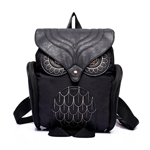 Surper® Cute Women Owl Leather Backpack Mujer Mochila EscolarTravel School Bag (Black)