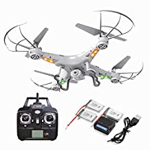 [3 PCS Extra Battery and 4-in-1 Charger Included]X5C-1 Explorers 2.4G 4CH RC Quadcopter With Gyro/ Flash Lights 360-degree 3D Helicopters With HD Camera-Mini Kitty