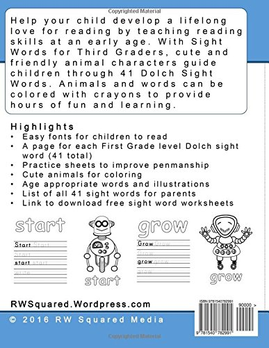 Workbook free phonics worksheets : Amazon.com: Sight Words for Third Graders - Coloring Book and ...