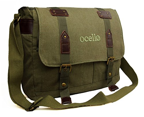 Mens Womens Boys Girls Ocello Canvas School College Work Satchel Messenger Shoulder Bag (Black/Green)