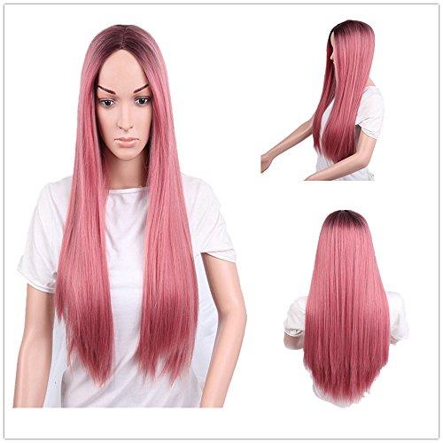 ZiQE Ombre Pink Dark Roots pelucas sintéticas para mujeres larga recta media pieza rosa peluca cosplay a prueba de calor de 24 pulgadas: Amazon.es: Belleza