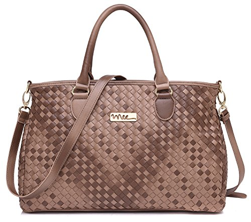 NNEE® Medium Hand Woven Leather Tote Bag Satchel with Multiple Pocket Design - (Woven Leather Purse)
