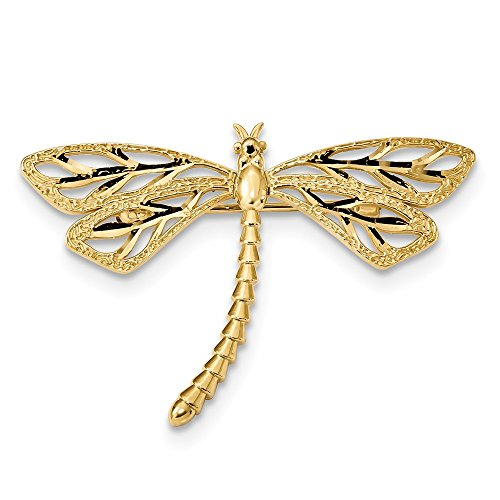 14K Diamond-cut Polished & Satin Dragonfly Pin by Jewelry Adviser Tie Pins (Image #3)