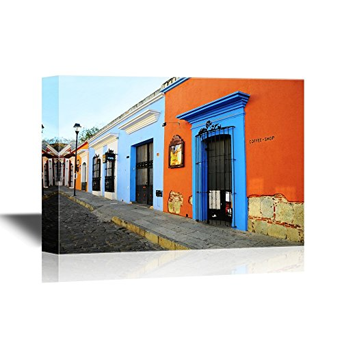 wall26 - Doors Canvas Wall Art - Typical Old Empty Street in Oaxaca, Mexico - Gallery Wrap Modern Home Decor | Ready to Hang - 16x24 inches]()