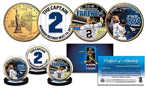 - DEREK JETER Yankees Captain #2 Retired 24K Gold Plated NY Quarters 3-Coin Set