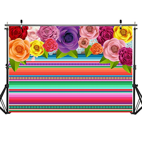 7x5ft Durable/Soft Fabric Fiesta Theme Party Backdrop Cinco De Mayo Colorful Stripes Background Mexican Festival Holiday Luau Event Decorations Photo Studio Booth Props. ()