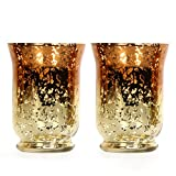 """Hosley's Set of 2 Ombre Glass Hurricane Candle Holder- 5"""" High. Wonderful Accent Piece for Coffee or Side Tables. Ideal Gift for Weddings, Home, Events P1."""