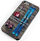 iPhone Case Fits iPhone 7 Ski Equipment Skies Skiing Snow Shovel Ski Boots Black Rubber