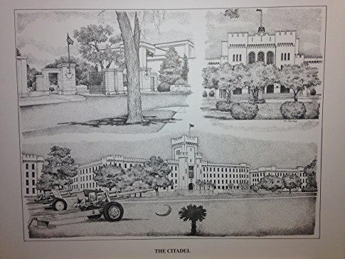 Citadel 16x20 pen and ink collage print by Campus Scenes