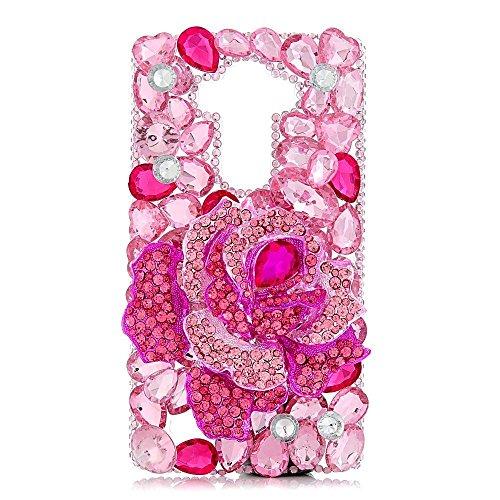 Spritech(TM) LG V10/LG G4 Pro/G4 Note Shining Case,3D Handmade Pink Bling Crystal Big Rose Flower Design Hard Clear Phone Cover for LG V10/LG G4 Pro/G4 Note (Brooch Crystal Motif)