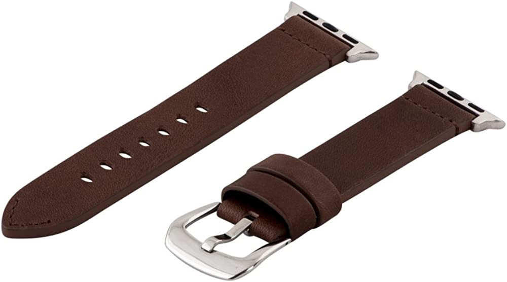 Clockwork Synergy - Dapper Collection (SS) Leather Band Compatible with 42mm Apple Watch Series