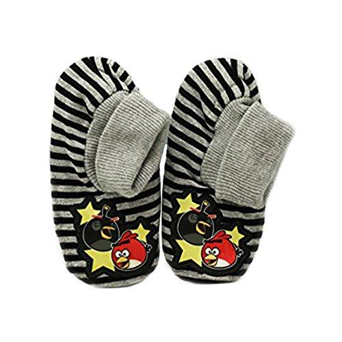 Price comparison product image Angry Birds Children's Unisex Slipper Socks with Grippers Red Bird Grey Black Stripe Gripper Slipper Sox Socks Non-Skid (Small / Medium)