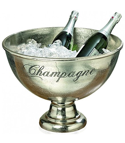 Cooler Footed Wine (Whole House Worlds The Old World Luxury Champagne Bucket With Old World Panache, Elegant Script Text Details, Hand Cast of Silver Aluminum, Pedestal Base, Party Sized, 18 ½ Diameter, 13 1/2 Tall, By)