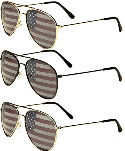 American Flag USA Classic Teardrop Metal Aviator Sunglasses (all 3 - Awesome Mens Sunglasses