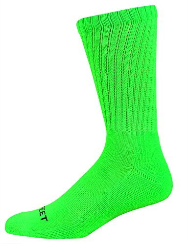 (Pro Feet Multi-Sport Crew Socks, Lime, Medium)