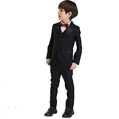 41d537744e08c Prosperouse 欧米風 カジュアル 男の子 スーツ 子供スーツ フォーマルスーツ 洋服 タキシード 小学生 制服 5点