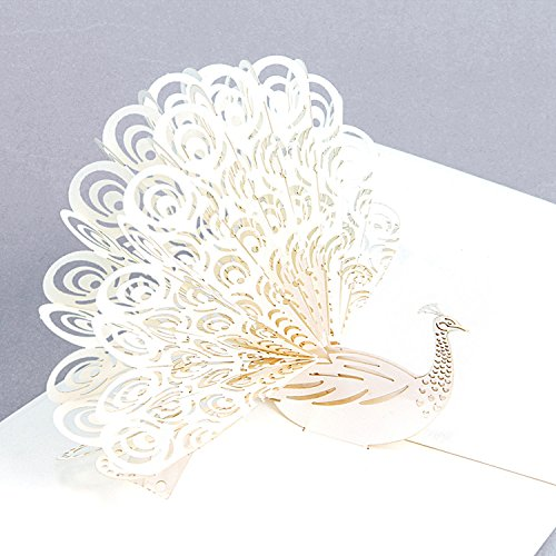Jerry & Maggie - Pop Up Greeting Card - Cute Peacock 3D Paper Greeting Thank You Card Handmade Envelope for kids men women | Holiday Halloween Thanksgiving Birthday ( White )